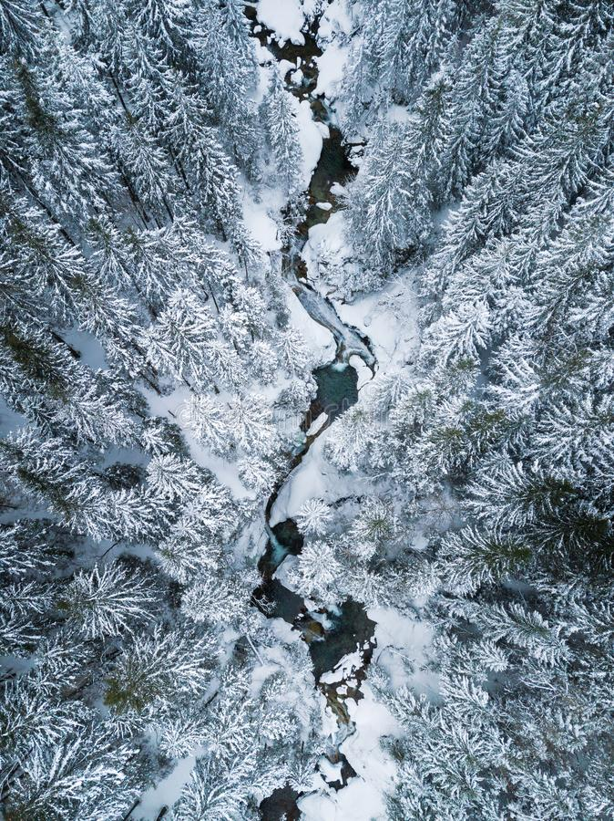 Aerial view of the creek in mountains stock photo
