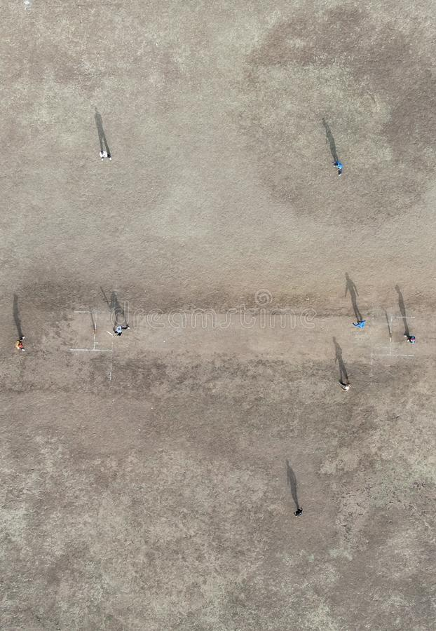 Aerial view of cricket game royalty free stock photo