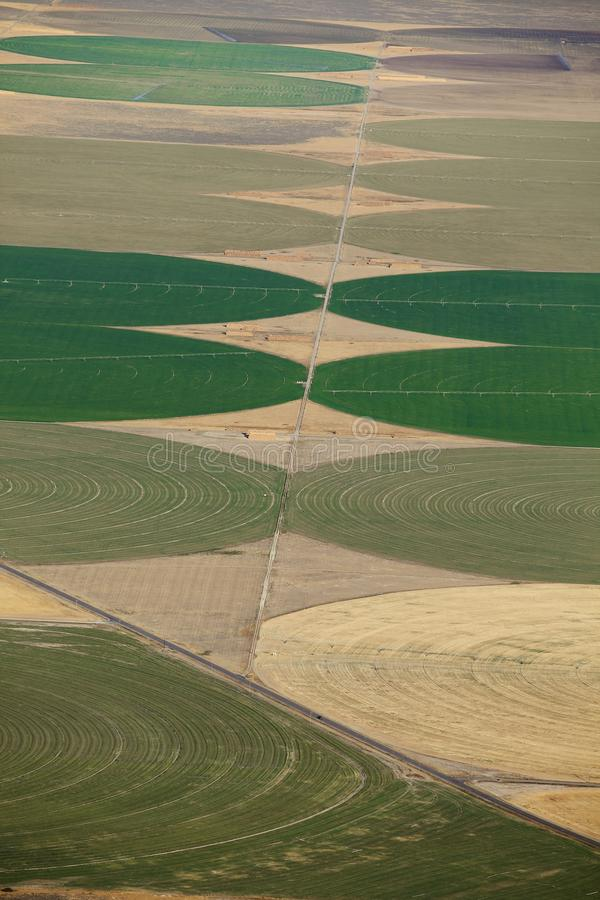 Crop Circles created by agricultural irrigation systems. stock image