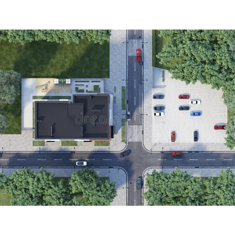 Aerial view of crossroad and town building, 3d render royalty free illustration