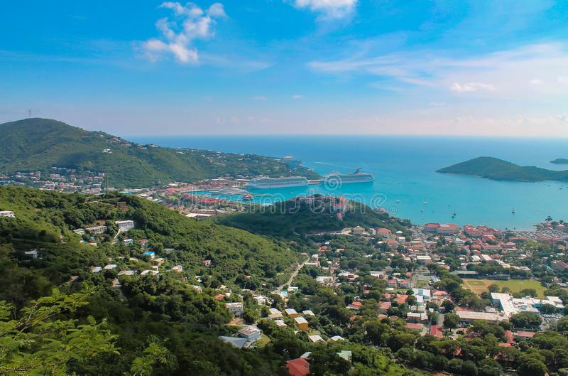 Aerial view of the Cruise Ship Harbor of St. Thomas an island of the US Virgin Islands in the Caribbean. royalty free stock photo