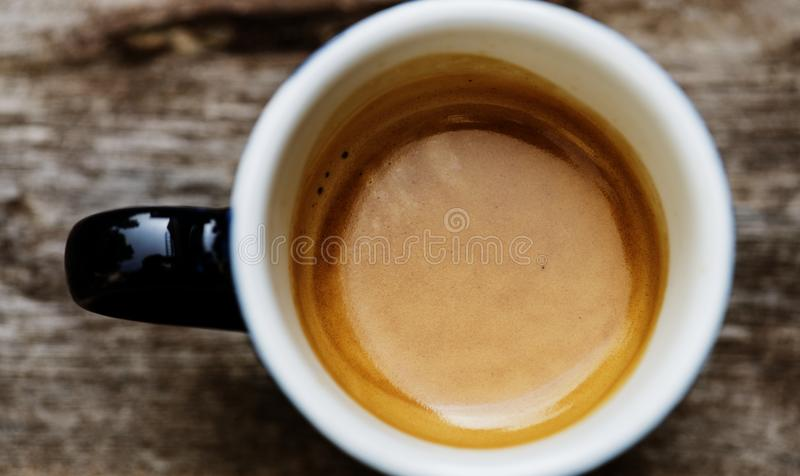 Aerial view of a cup of hot coffee drink for the morning royalty free stock photography