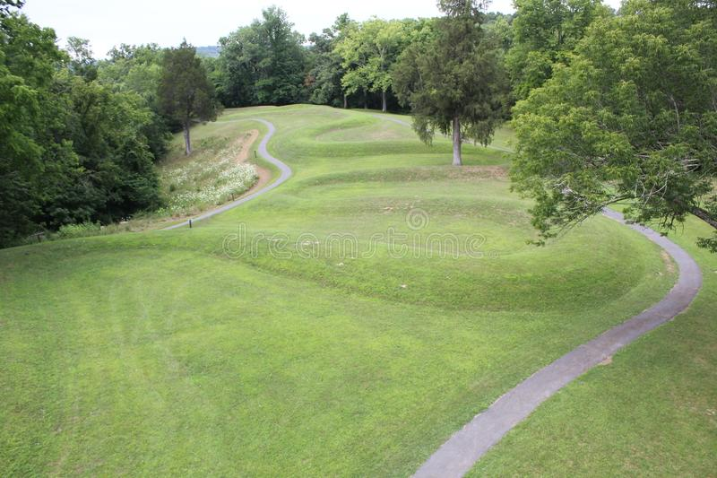 Aerial View of the Curves of the Serpent mound. Of Ohio, United States. This Mound was built by the Fort Ancient culture around 1070 CE. Serpent Mound is the royalty free stock photography