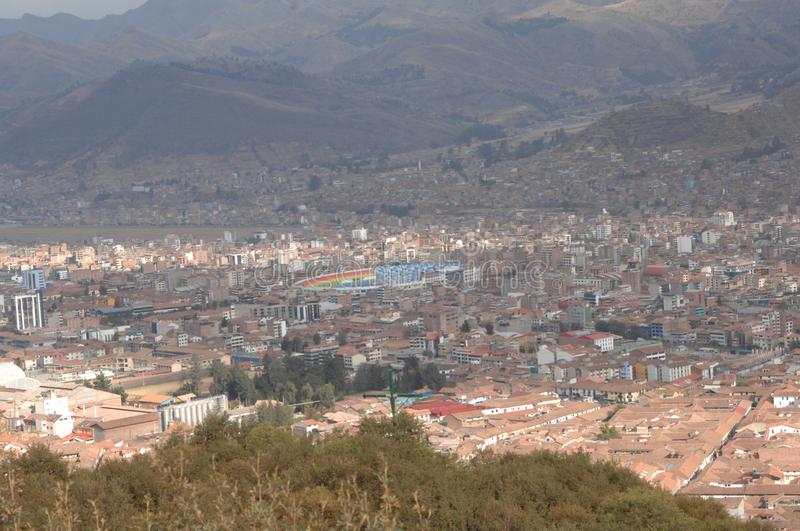 Aerial view of Cusco, Peru. In mountain valley on sunny day royalty free stock photos