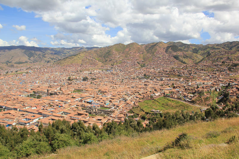 Aerial view of Cusco, Peru royalty free stock photography