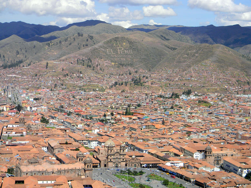 Aerial view of Cusco, Peru stock image