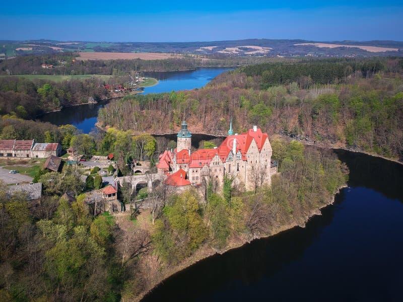 Aerial view of Czocha Castle, Lower Silesian Voivodeship. Poland royalty free stock photos