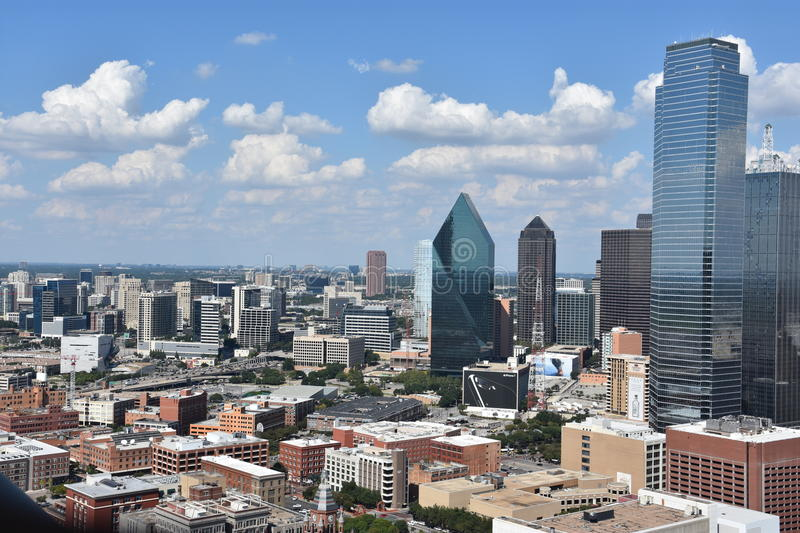 Aerial view of Dallas, Texas stock images