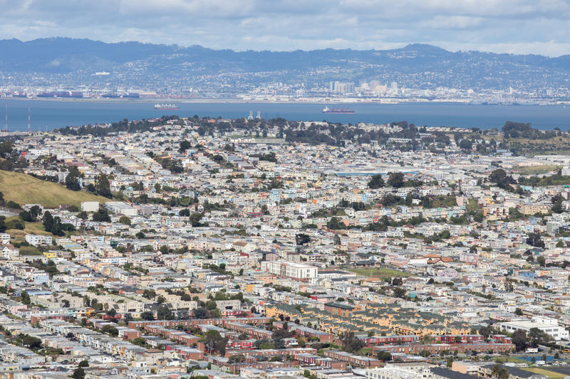 Aerial View of Daly City and Brisbane from San Bruno Mountain State Park. stock photography