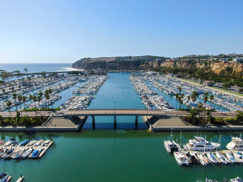 Aerial view of Dana Point Harbor and her marina royalty free stock images