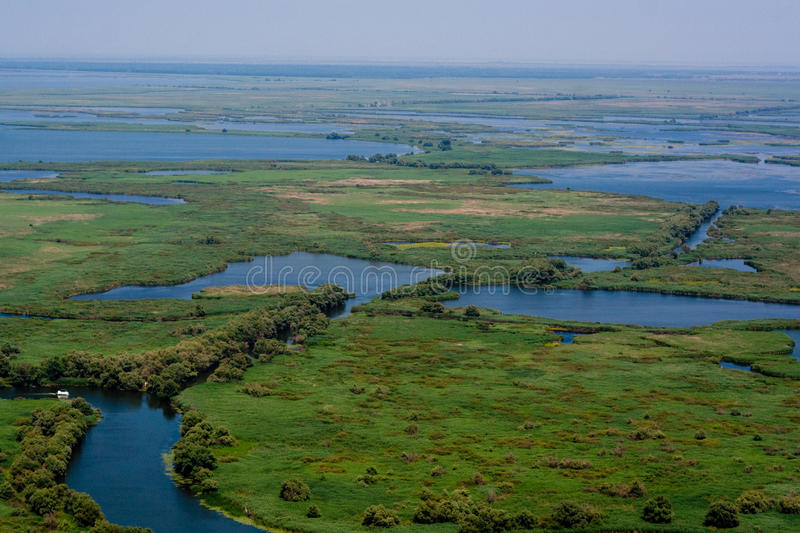 Aerial View of Danube Delta. With a channel and lakes stock photo