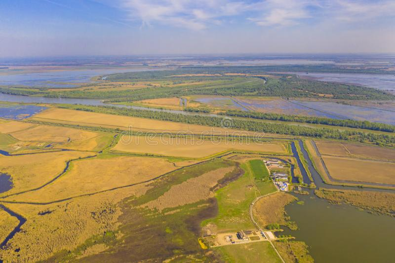 Aerial view of Danube Delta stock photos