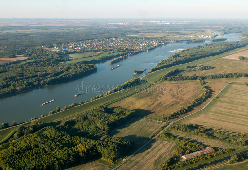 Aerial View of Danube in Hungary stock photo