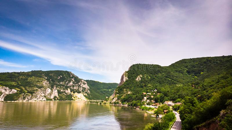 Aerial view of Danube river gorge in national park Djerdap in Serbia. Serbian and Romanian border stock photo