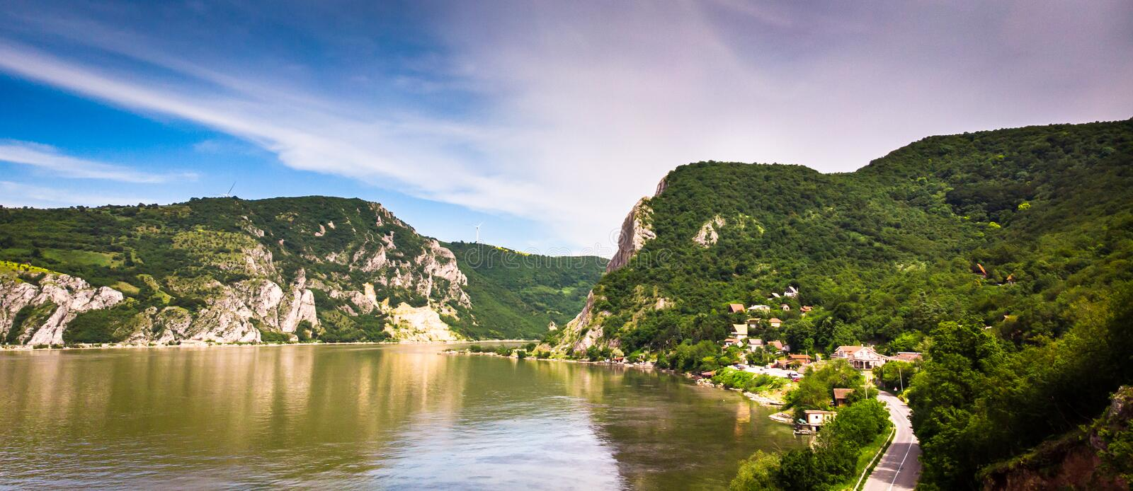 Aerial view of Danube river gorge in national park Djerdap in Serbia. Serbian and Romanian border stock photography