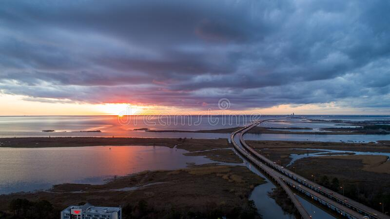 Aerial view of Daphne, Alabama and Mobile Bay at sunset royalty free stock photo