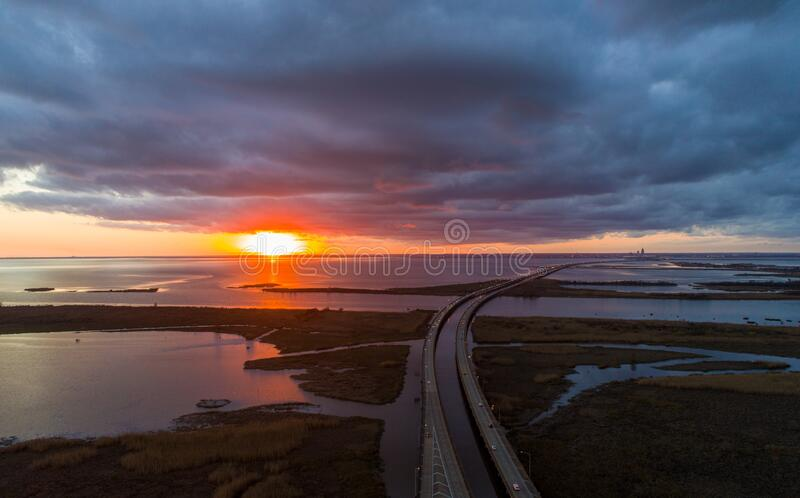 Aerial view of Daphne, Alabama and Mobile Bay at sunset royalty free stock photos