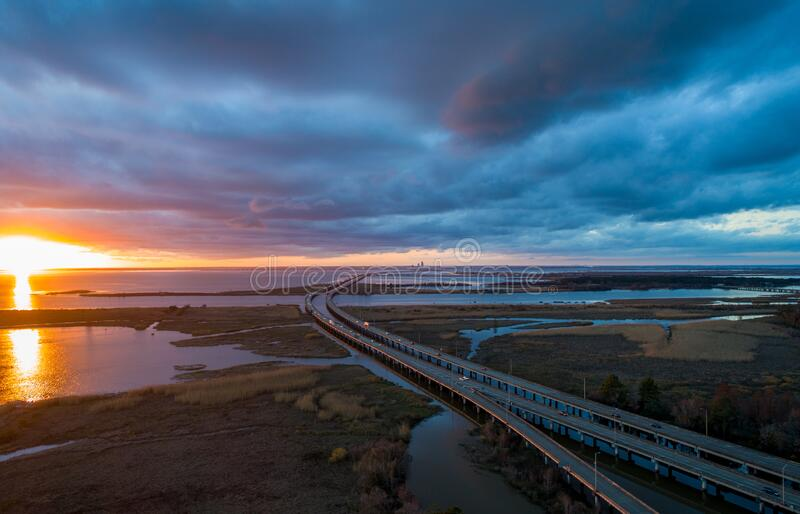 Aerial view of Daphne, Alabama and Mobile Bay at sunset stock image