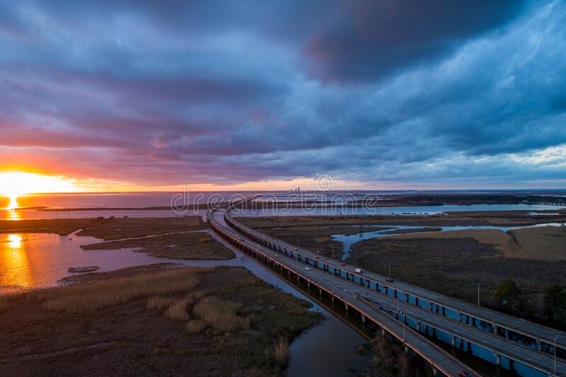 Aerial view of Daphne, Alabama and Mobile Bay at sunset stock photography