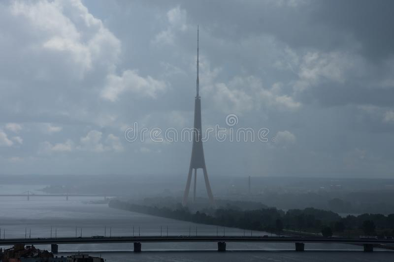 Aerial view Daugava River and Riga Radio and TV Tower stock image