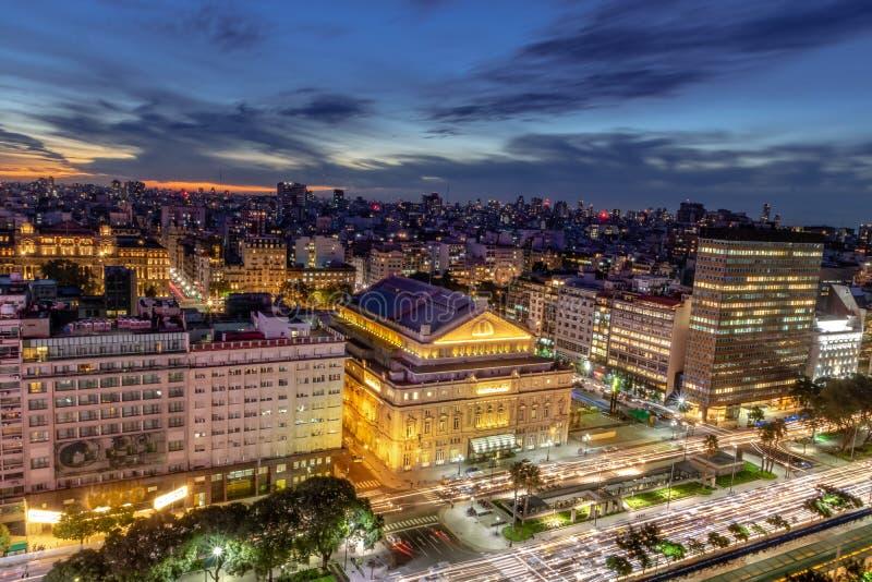 Aerial view 9 de Julio Avenue at night - Buenos Aires, Argentina. Aerial view 9 de Julio Avenue at night in Buenos Aires, Argentina royalty free stock photos