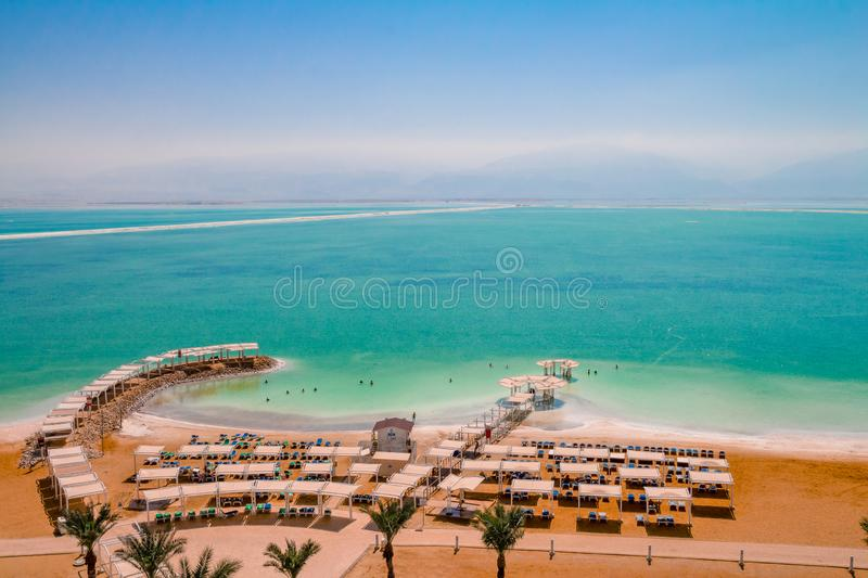 Aerial view of the Dead Sea beach area of Ein Bokek resort in Is stock images
