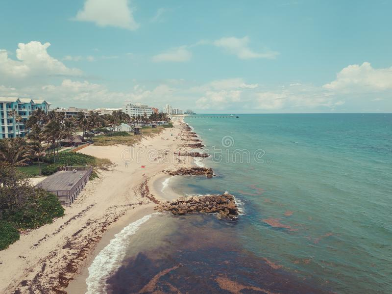 Aerial view on Deerfield Beach, Atlantic Ocean and sands in sunny day stock photography
