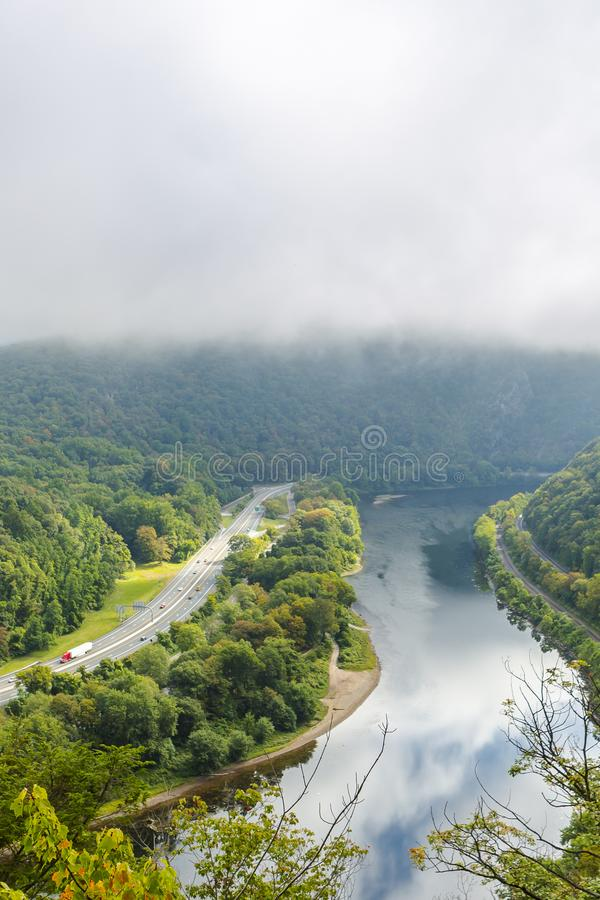 Aerial view of the delaware river under heavy fog. Delaware Water Gap, Pennsylvania aerial view of the delaware river along Rt 80 royalty free stock photography