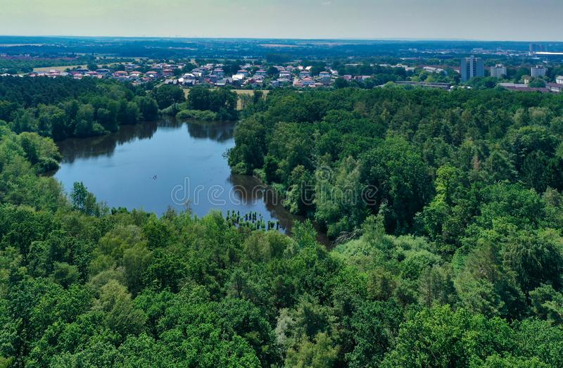 Aerial view of a densely overgrown green forest area with a large old pond and the houses of the city in the background.  royalty free stock image