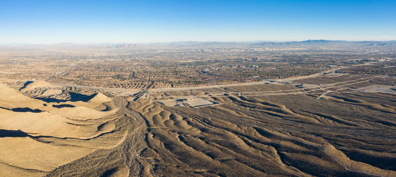 Aerial View of Desert and Housing Developments in Las Vegas royalty free stock images