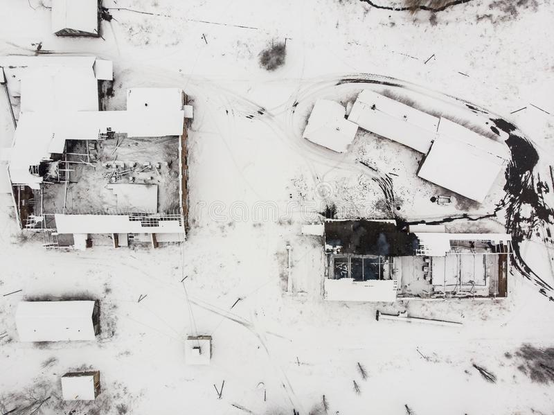 Aerial view of destroyed saltmaking factory in Drohobych, Ukraine. Winter time stock images