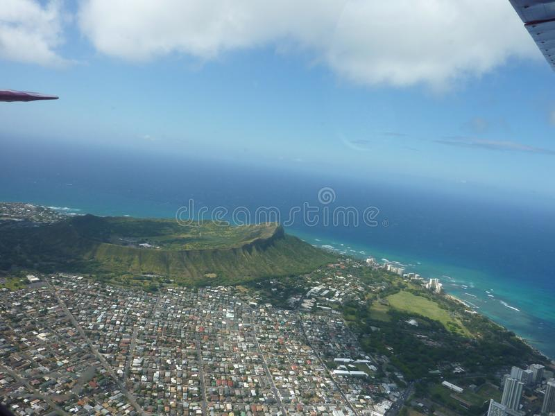 Aerial view of diamond head crater hawaii royalty free stock photo