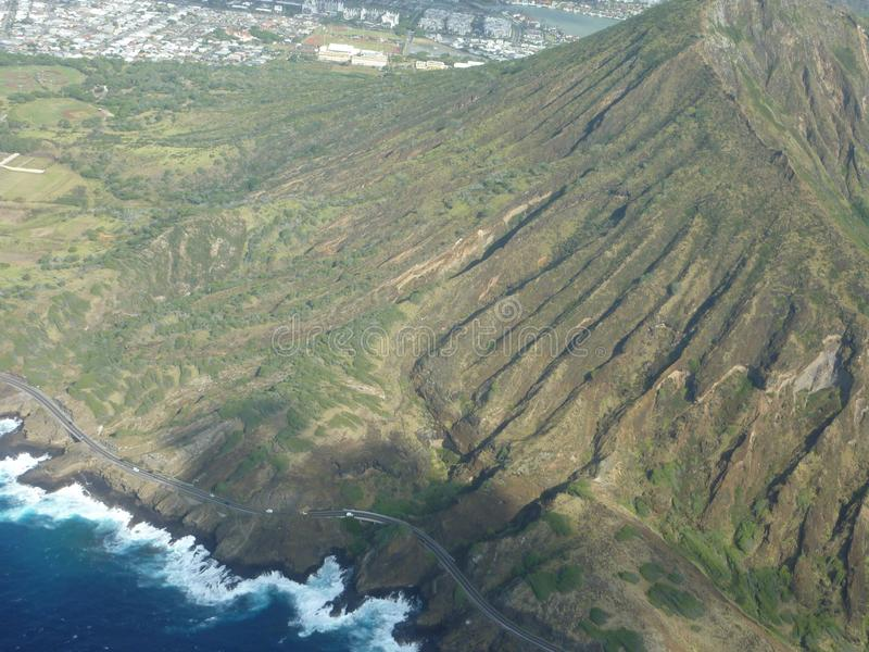 Aerial view of diamond head crater hawaii royalty free stock photography
