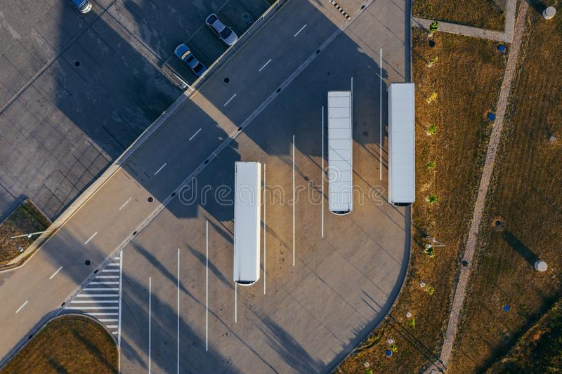 Aerial view of the distribution center. Aerial view of the distribution center, drone photography of the industrial logistic zone royalty free stock images