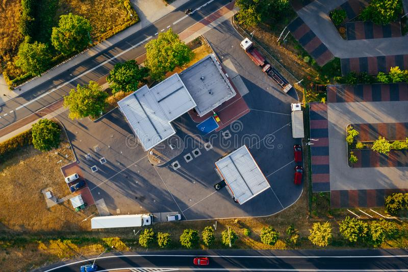 Aerial view of the distribution center. Aerial view of the distribution center, drone photography of the industrial logistic zone stock photos