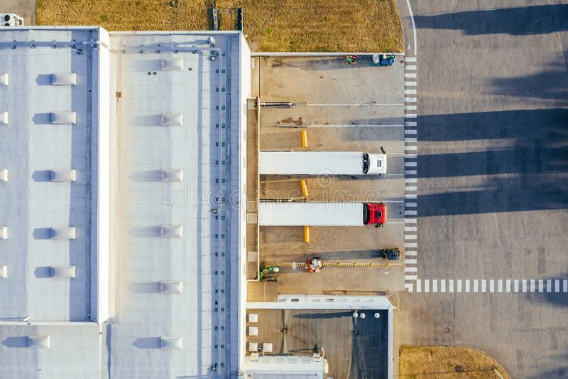 Aerial view of the distribution center. Aerial view of the distribution center, drone photography of the industrial logistic zone royalty free stock photos