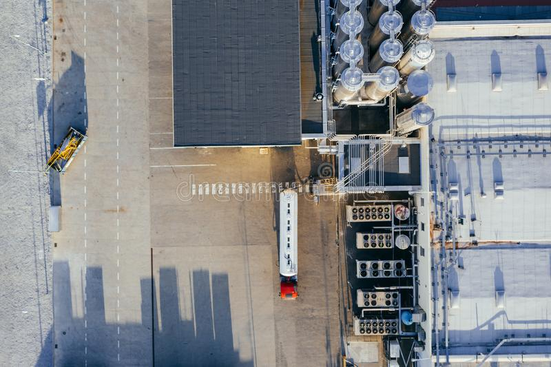 Aerial view of the distribution center. Aerial view of the distribution center, drone photography of the industrial logistic zone royalty free stock photo