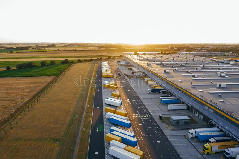Aerial view of the distribution center, drone photography of the industrial logistic zone. stock image