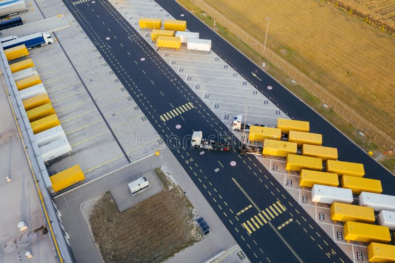 Aerial view of the distribution center, drone photography of the industrial logistic zone. royalty free stock photo
