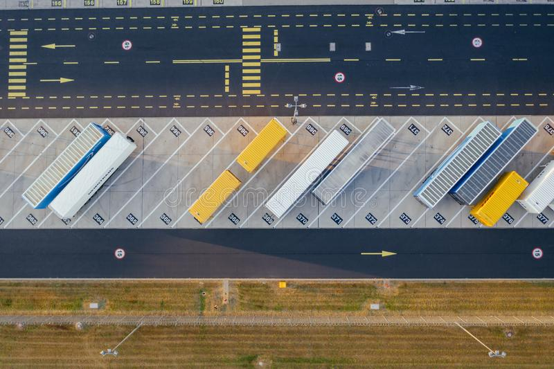 Aerial view of the distribution center, drone photography of the industrial logistic zone. royalty free stock photography