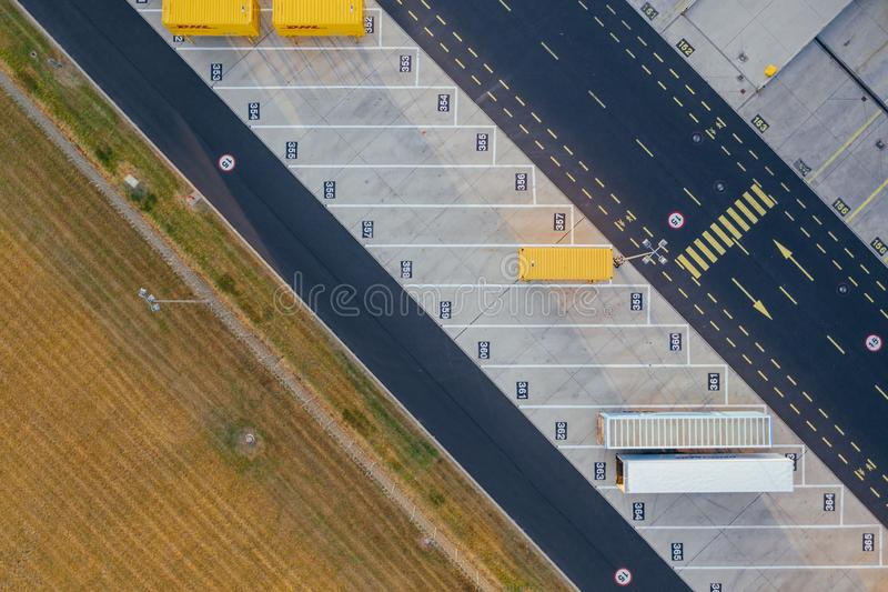 Aerial view of the distribution center, drone photography of the industrial logistic zone. royalty free stock images