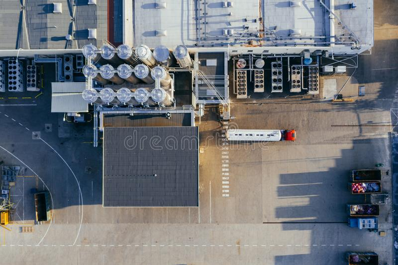 Aerial view of the distribution center. Aerial view of the distribution center, drone photography of the industrial logistic zone royalty free stock photography