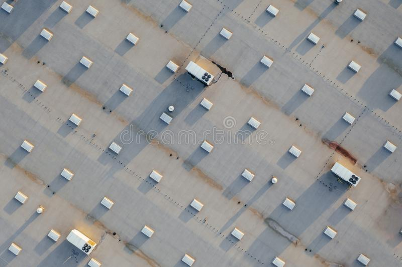 Aerial view of the distribution center. Aerial view of the distribution center, drone photography of the industrial logistic zone stock photo