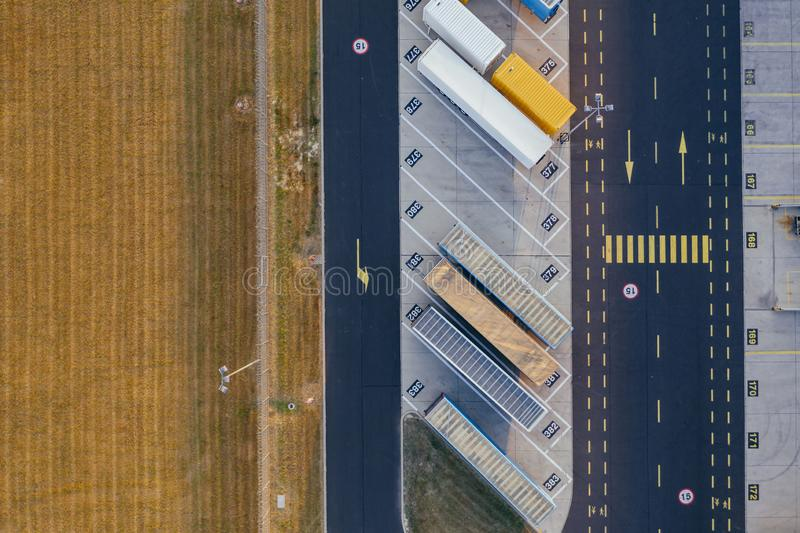 Aerial view of the distribution center, drone photography of the industrial logistic zone. stock photography