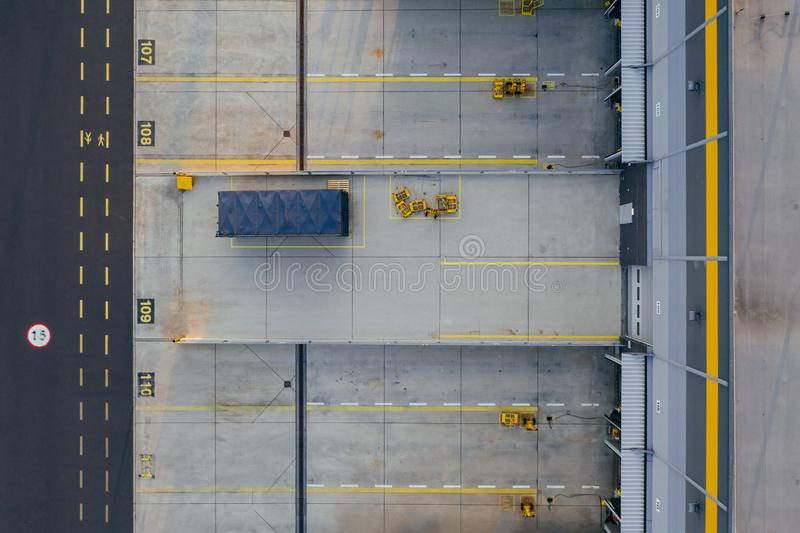 Aerial view of the distribution center, drone photography of the industrial logistic zone. stock photos