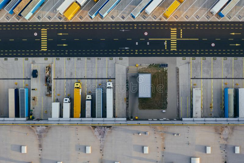 Aerial view of the distribution center, drone photography of the industrial logistic zone. N royalty free stock image