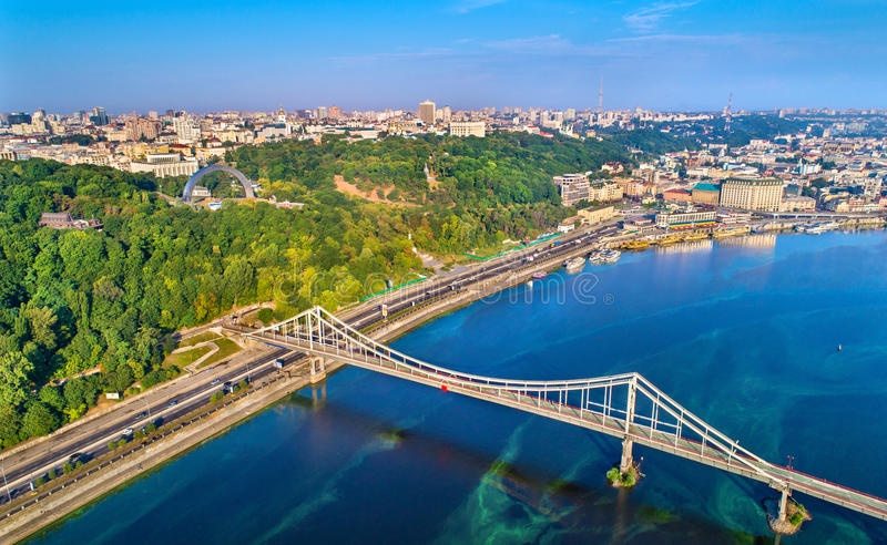 Aerial view of the Dnieper with the Pedestrian Bridge in Kiev, Ukraine stock image