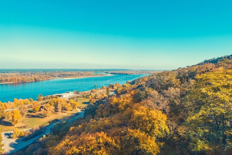 Aerial view at the Dnieper river and embankment near Taras Hill. Chernecha Hora in autumn. Kaniv, Ukraine, Europe royalty free stock images