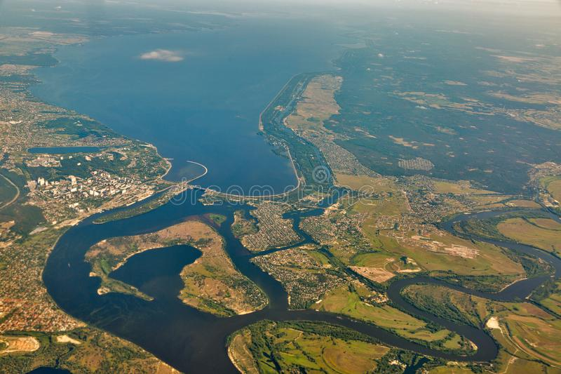 Aerial view of the Dnieper river and island. Kiev reservoir, Ukraine. View from aiplane stock images