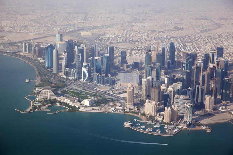 Aerial view on Doha stock images